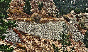 Switzerland Trail - Switzerland Trail above Sunset townsite. Note the well-preserved rockwork on the old railroad embankment. 2010 photo by Don O'Brien.