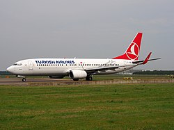TC-JFM Turkish Airlines Boeing 737-8F2 taxiing 13July2013 pic2.JPG