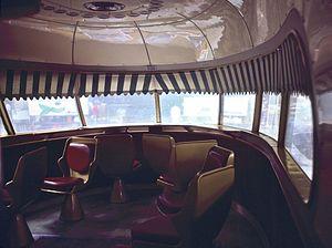 Settebello (train) - Interior of lounge at front of Settebello train, in 1983