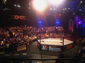 Wrestling ring - A hexagonal wrestling ring, used by Global Force Wrestling.  AAA in Mexico uses similar rings.