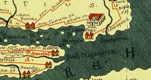 Tabula Peutingeriana con evidenziata Tauriana.