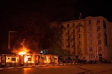 Objects set on fire near Taksim Square on 3 June 2013.