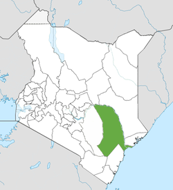 Location of Tana River County (Green)