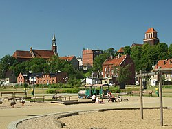 Tczew Old Town seen from Vistula riverbank