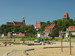 Tczew - Tczew Old Town seen from Vistula riverbank