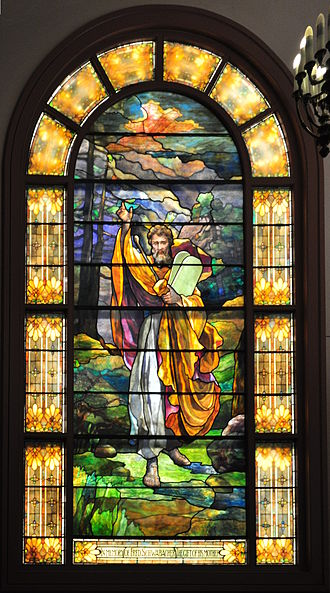 "Temple De Hirsch Sinai - This stained glass window depicting Moses with the Tablets, now on the western side of the Schoenfeld-Gardner Chapel of Temple De Hirsch Sinai, Seattle, was salvaged from the 1908 Temple De Hirsch, where it was located on the east end, over the Ark and Torah. The text at the bottom says ""In memory of Fred Schwabacher the gift of his mother""."