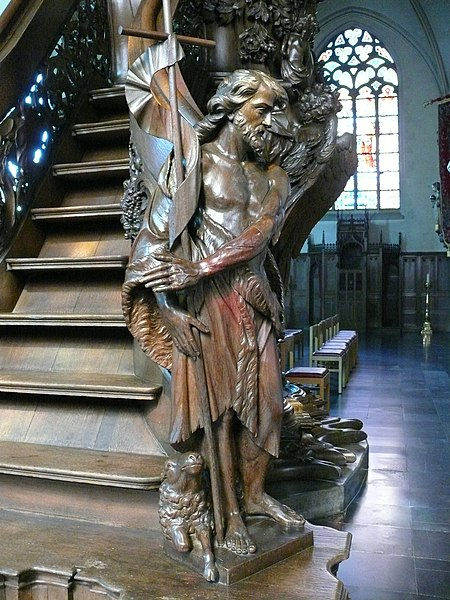 Pulpit (detail) by  Adrianus Nijs (Antwerpen, 6/6/1683 - Temse, 21/4/1771) in de Onze-Lieve-Vrouwekerk (Our Lady's Church) at Temse, Belgium. Nijs is one of the most important representatitives  of rococo in the Southern Netherlands.