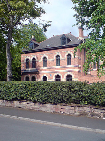 Augurio Perera's house in Edgbaston, Birmingham, where he and Harry Gem first played the modern game of lawn tennis Tennis birthplace Edgbaston.jpg