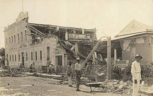 "1918 San Fermín earthquake - Damage caused to the ""La Habanera de Infanzón y Rodríguez"" building in Mayagüez"