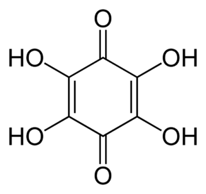 Tetrahydroxy-1,4-benzoquinone - Image: Tetrahydroxy 1,4 benzoquinone 2D skeletal