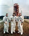 The Apollo 7 crew poses at launch complex 34.jpg