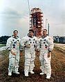 The Apollo 7 crew poses at launch complex 34.jpg