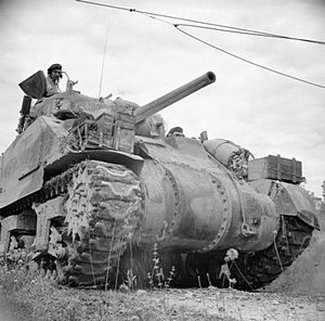 9th Armoured Brigade (United Kingdom) - Sherman tank of 3rd Hussars, 9th Armoured Brigade, 7 July 1944.