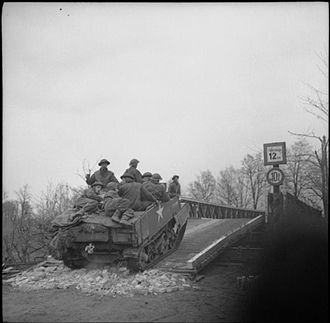 52nd (Lowland) Infantry Division - A Universal Carrier of the 6th Battalion, Cameronians (Scottish Rifles) crossing the Dortmund–Ems Canal, Germany, 4 April 1945.
