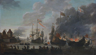 "Raid on the Medway - ""Burning English ships"" by Jan van Leyden. Shown are the events near Gillingham: in the middle the Royal Charles  is taken; on the right Pro Patria and Schiedam set Matthias and Charles V alight"