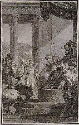 Child's War - French illustration of an Englishman requesting pardon from the Mughal Emperor Aurangzeb.