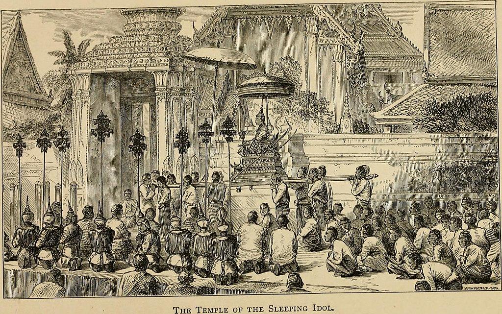 Visite du roi de Siam au temple Wat Pho à Bangkok en 1865.
