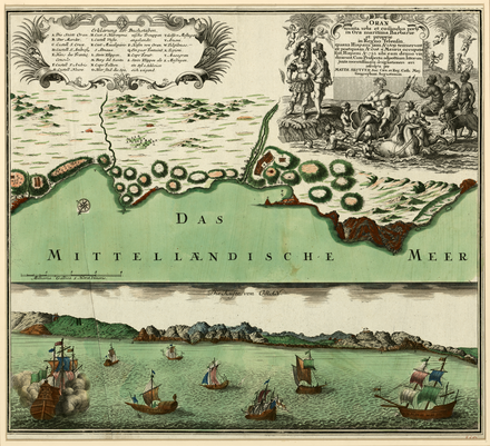A two-part map showing the port of Oran in the 18th century, by German map publisher Matthaus Seutter. The Fortified City of Oran on the Barbary Coast.png