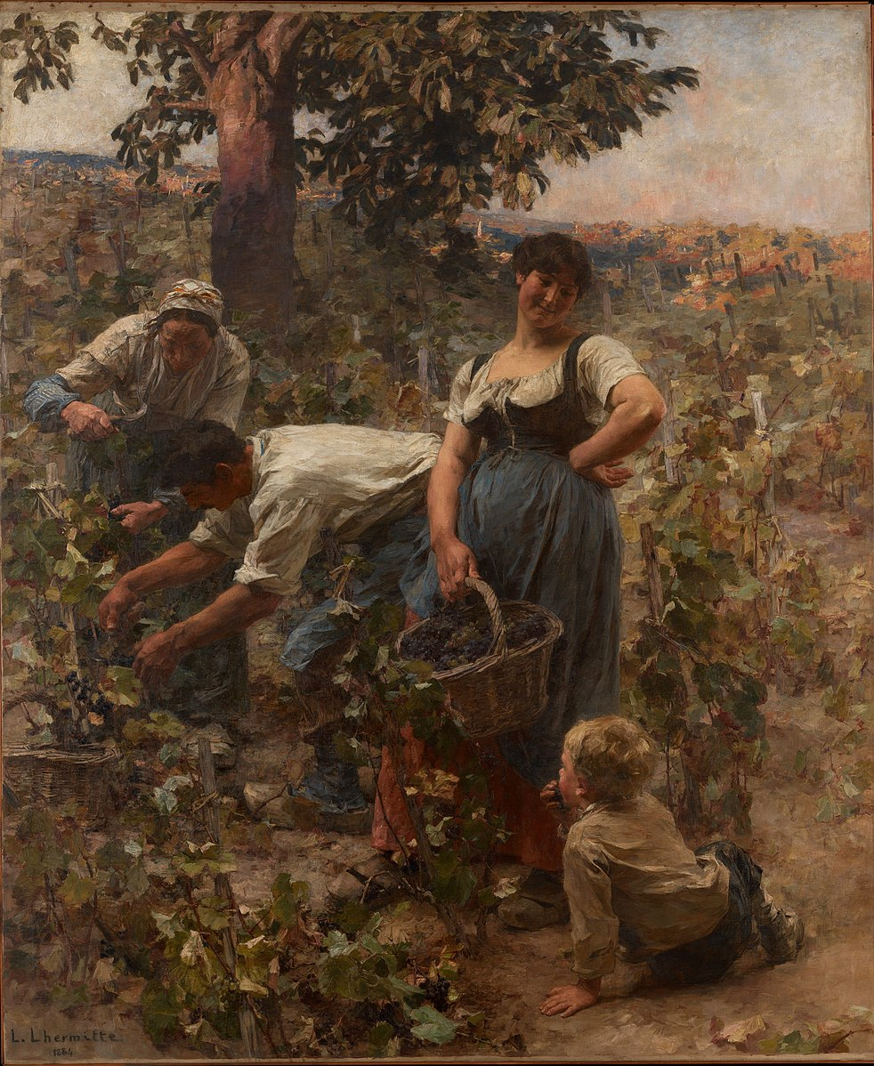 The Grape Harvest painting by Léon Augustin Lhermitte (1884)