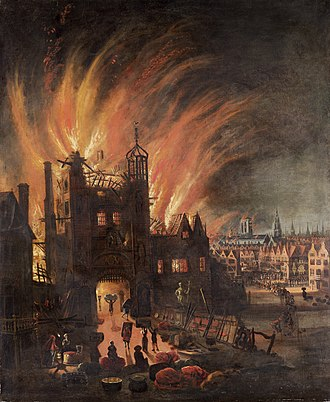Great Fire of London - Ludgate in flames, with St Paul's Cathedral in the distance (square tower without the spire) now catching flames. Oil painting by anonymous artist, ca. 1670.