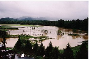 Swannanoa River - Swannanoa River flooding after Hurricane Frances, September 2004