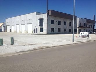 Williston, North Dakota - Photo of a modern precast concrete building in Williston, North Dakota USA.  The building is a flex space building.