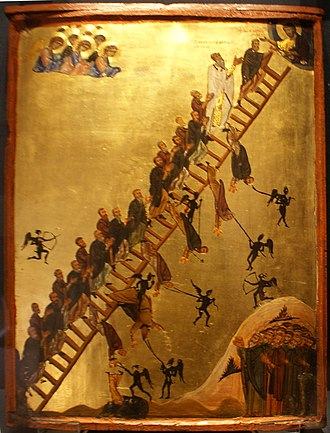 Icon - The Ladder of Divine Ascent icon showing monks ascending to Jesus in Heaven, top right. 12th century, Saint Catherine's Monastery