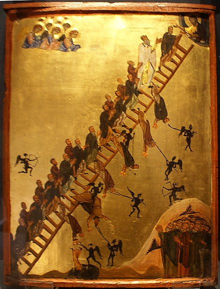 The Ladder of Divine Ascent icon showing monks ascending to Jesus in Heaven, top right. 12th century, Saint Catherine's Monastery The Ladder of Divine Ascent.jpg