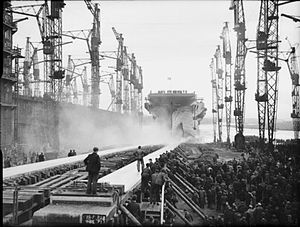 HMS Indefatigable (R10) - The launching of Indefatigable, 8 December 1942