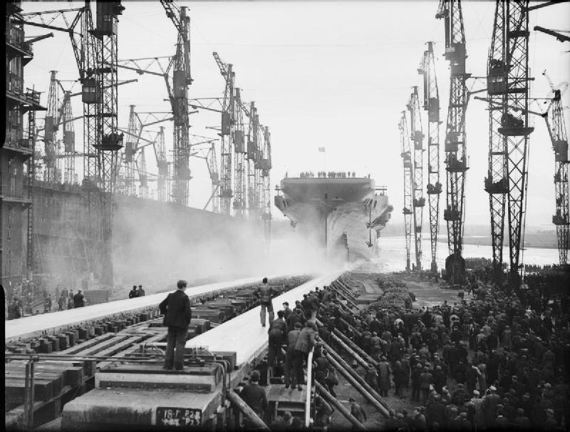The Launching of the Aircraft Carrier HMS Indefatigable at Glasgow, Scotland, 8 December 1942 A13185