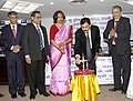 The Minister of State for Railways, Shri Bharatsinh Solanki lighting the lamp at the release of a Gujarati version of policy documents, prepared by New India Assurance Co. Ltd., in Ahmedabad on January 22, 2011.jpg