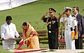 The President of India, Smt. Pratibha Patil paying floral tribute at Shantivan the Samadhi of former Prime Minister, Pandit Jawaharlal Nehru, in Delhi on July 26, 2007.jpg