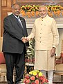 The Prime Minister, Shri Narendra Modi meeting the President of the Republic of Djibouti, Mr. Ismail Omar Guelleh, during the 3rd India Africa Forum Summit, in New Delhi on October 28, 2015 (1).jpg