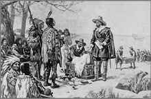 A pen drawing of two men in 17th-century Dutch clothing presenting an open box of items to a group of Native Americans in feather headdresses stereotypical of plains tribes.