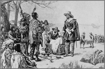 Peter Minuit is credited with the purchase of the island of Manhattan in 1626. The Purchase of Manhattan Island.png
