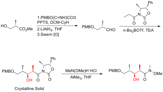 The Smith gram-scale synthesis of (+)-discodermolide fragment.png