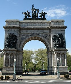 The The Soldiers' and Sailors' Arch at Grand Army Plaza.