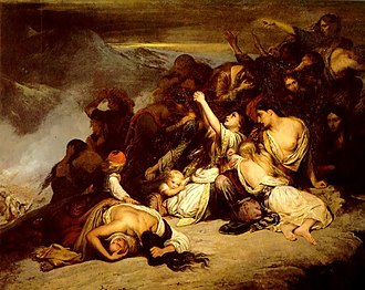 Souliotes - The Souliote women. Romantic painting by Ary Scheffer (1795–1858), depicting the heroic suicide of Souliote women known as the Dance of Zalongo during the Souliote wars (1827, Oil on canvas, Musée du Louvre, Paris, France).