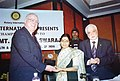 The Union Minister of Health and Family Welfare Smt. Sushma Swaraj is conferred Polio Eradication Champion Award 2003 by the Chairman.jpg
