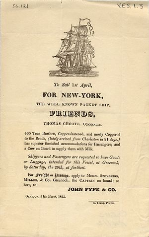 Packet trade - Poster advertising a packet service, Greenock, Scotland to New York, 1823