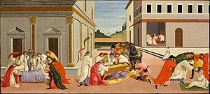 Scenes from the Life of Saint Zenobius - Three miracles, New York, 67.3 x 150.5 cm