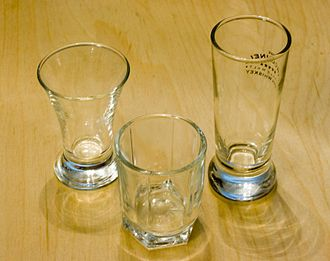 Shot glass - Three shot glasses of varying shape and size