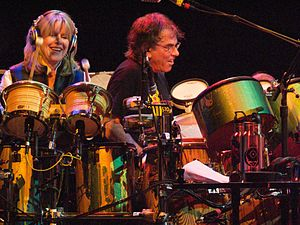Mickey Hart - Tipper Gore and Mickey Hart playing drums together during a The Dead concert in April 2009