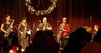 The Billy Tipton Memorial Saxophone Quartet - The Tiptons, December 2006. Left to right: Jessica Lurie, Amy Denio, Tina Richerson, Tobi Stone, Faith Stankevich