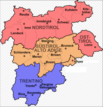 Tyrol - The region consists of present-day Tyrol–South Tyrol–Trentino Euroregion, including Fodóm (Buchenstein) and Col (Verseil), and Valvestino, Magasa and Pedemonte.