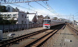 Tōkyū Meguro Line - Meguro Line tracks run parallel with the Tōyoko Line between Den-en-chōfu and Hiyoshi stations (inside tracks - Meguro Line, outside tracks - Tōyoko Line)