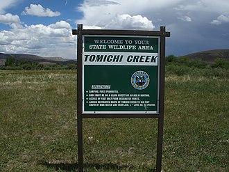 Tomichi Creek - Sign at parking lot to Tomichi Creek State Wildlife Area