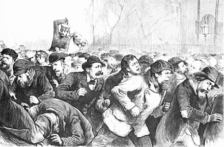 The Depression of 1873–79: New York City police violently attacking unemployed workers in Tompkins Square Park, Manhattan, New York City 1874 Tompkins square riot 1874.jpg