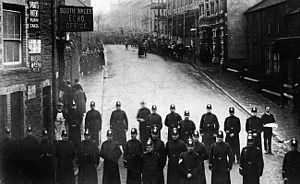 Tonypandy riots - Police blockade a street during the events of 1910–1911