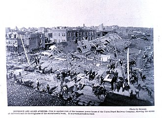 1896 St. Louis–East St. Louis tornado - Tornado damage, Union Depot, Jefferson and Allen Avenues, St. Louis, National Oceanic and Atmospheric Administration photograph by J. C. Strauss, May 27, 1896. Missouri State Archives.